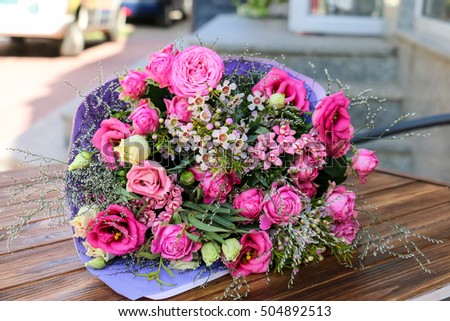 Bouquet of eustoma flower, rose Bombastik in delicate pink tones.