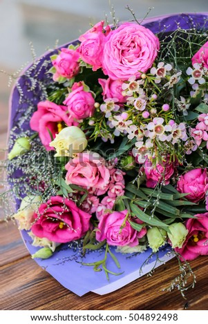 Bouquet of eustoma flower, rose Bombastik in delicate pink tones. Close up