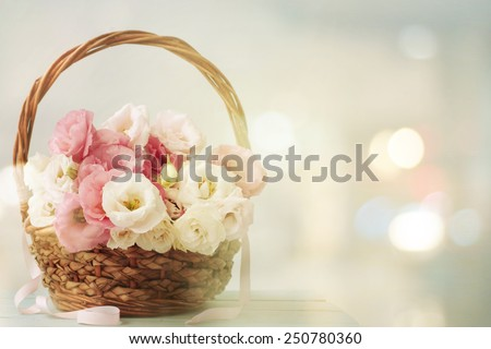 bouquet of eustoma flowers - stock photo
