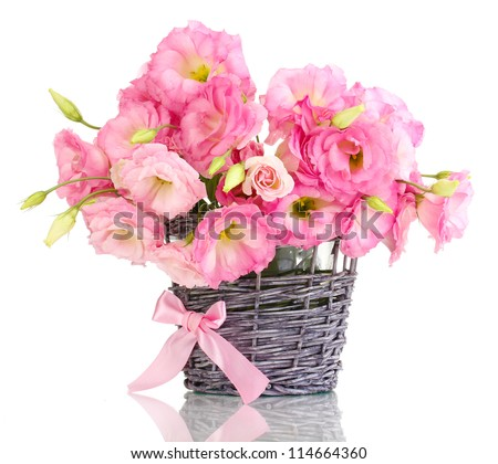 bouquet of eustoma flowers in  wicker vase, isolated on white - stock photo