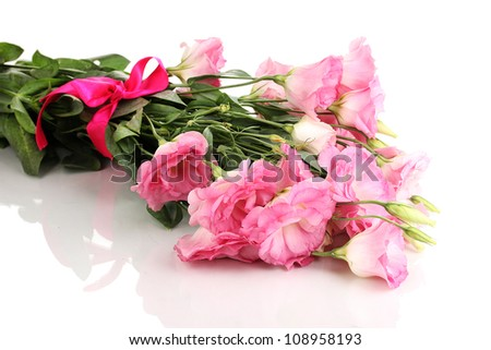 bouquet of eustoma flowers, isolated on white