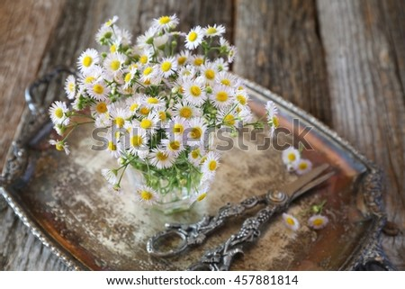 Bouquet of field daisies on vintage tray - stock photo
