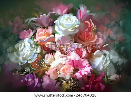Bouquet of flowers.digital painting - stock photo