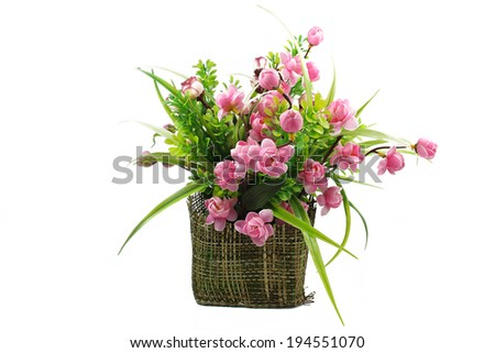 Bouquet of flowers in a vase, white background. - stock photo