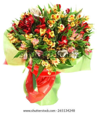 Bouquet of flowers in green and red package isolated on white