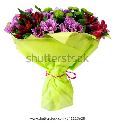Bouquet of flowers in green package isolated on white - stock photo