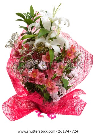 Bouquet of flowers in pink package isolated on white  - stock photo
