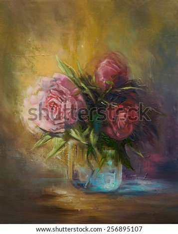 Bouquet of flowers in the glass vase