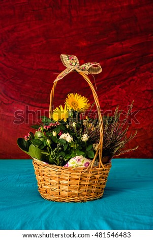 Bouquet of flowers on a stucco background