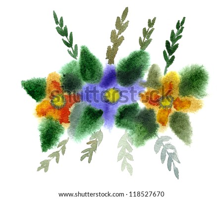 Bouquet of flowers painted in watercolor  isolated on white - stock photo