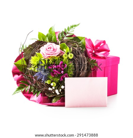 Bouquet of flowers, pink gift box and invitation card isolated on white background. Holiday present. Objects group with clipping path - stock photo