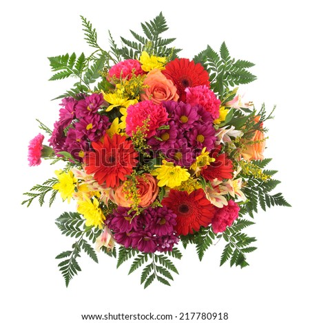 Bouquet of flowers seen from above. Roses, Chrysanthemum, Gerber, Carnation and Goldenrod. - stock photo