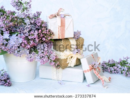 bouquet of flowers with gifts