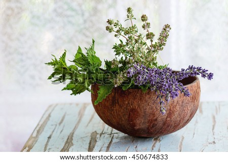 Bouquet of fresh aromatic garden herbs mint, thyme and lavender in half of coconut shell on old wooden table with window at background. Rustic style, natural day light