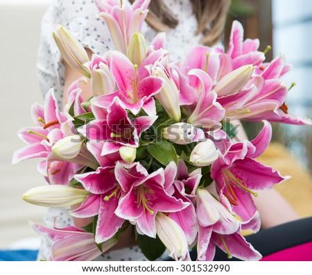 Bouquet of Fresh Beautiful Pink Lilies  - stock photo