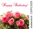 bouquet of fresh pink roses isolated on white background. floral border with sample text Happy Birthday! card concept - stock photo