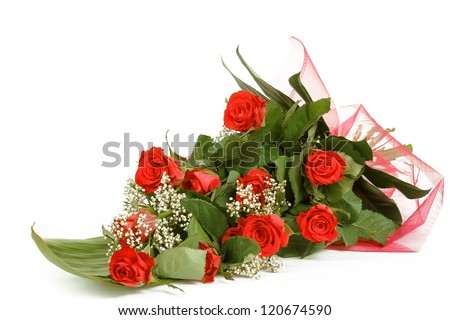 Bouquet of fresh red roses on white, with space for copy in the side - stock photo
