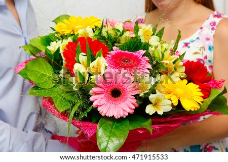 Bouquet of  gerbera . Concept: Greetings beloved woman