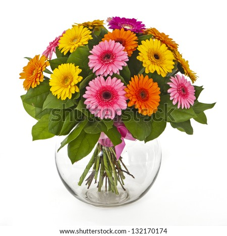 bouquet of gerberas in vase isolated on white - stock photo