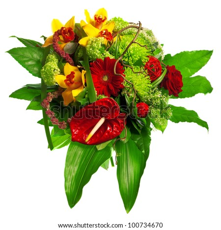 bouquet of gerberas, lily and anthurium - stock photo
