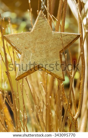 Bouquet of golden colored branches and  a wood star in the foreground at advent season. - stock photo