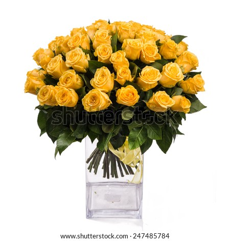 bouquet of isolated yellow roses in vase on a white background - stock photo