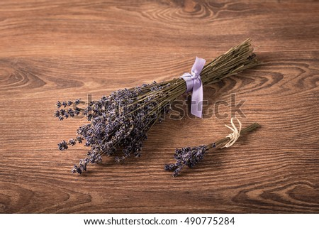 Bouquet of lavender flower on a wooden background