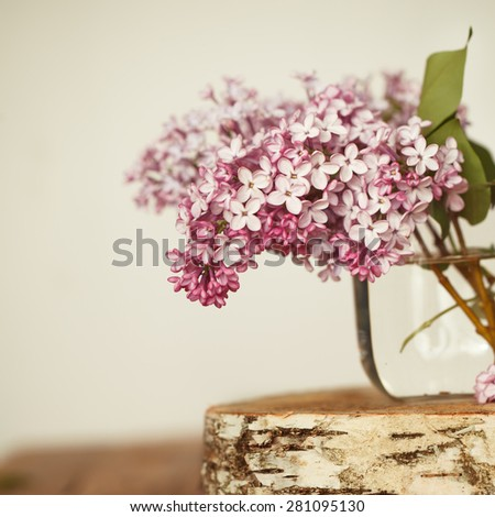 Bouquet of lilac spring flowers in glass vase on wooden background. - stock photo
