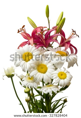 Bouquet of lilies and daisies isolated on white background - stock photo