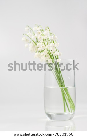Bouquet of lily of the valley in glass vase - stock photo