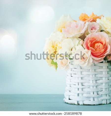 bouquet of mixed roses - stock photo