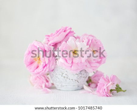 Bouquet Pale Pink Roses Clay Vase Stock Photo Royalty Free