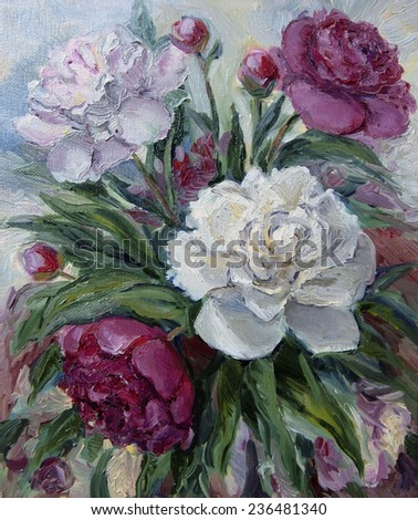 bouquet of peonies. oil Paintings                        - stock photo