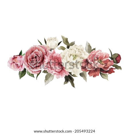 Bouquet of peonies, watercolor, can be used as greeting card, invitation card for wedding, birthday and other holiday and  summer background - stock photo