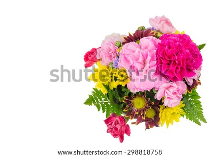 Bouquet of pink carnations and chrysanthemum Flower on white background