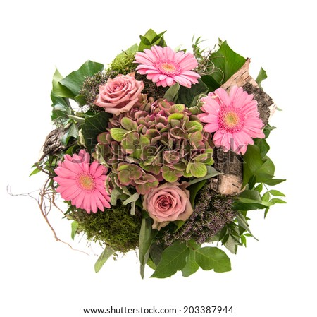 bouquet of pink flowers roses and daisy isolated on white background - stock photo