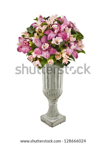 bouquet of pink orchids in vase isolated on white - stock photo