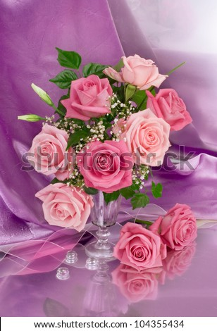Bouquet of pink peonies - stock photo