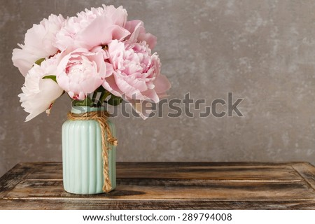 Bouquet of pink peonies, copy space - stock photo
