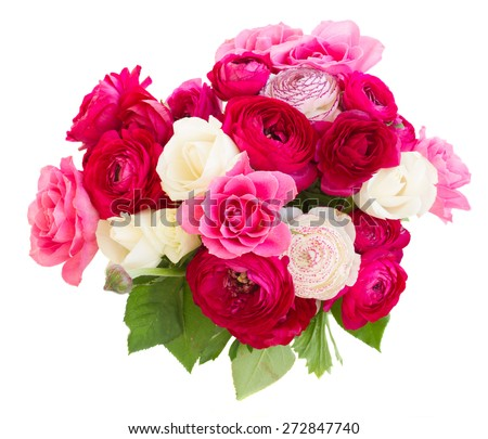bouquet  of pink  ranunculus and rose flowers  close up isolated on white background - stock photo