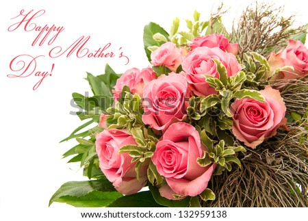 bouquet of pink rose flowers isolated on white background. floral border with sample text Happy Mother's Day - stock photo