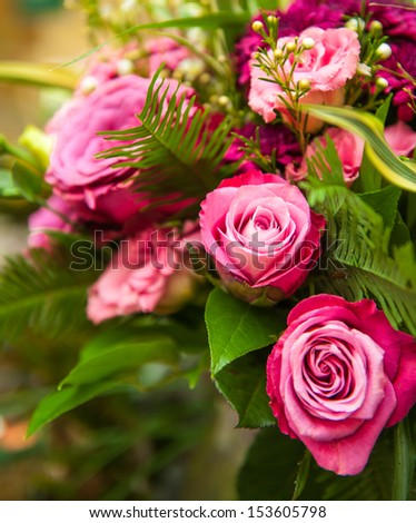bouquet of pink roses - stock photo