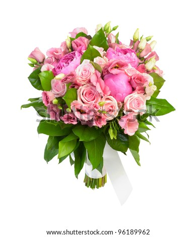 Bouquet of pink roses and peonies isolated on white - stock photo