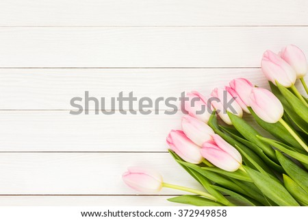 Bouquet of pink tulips on white wooden background. Top view, copy space - stock photo