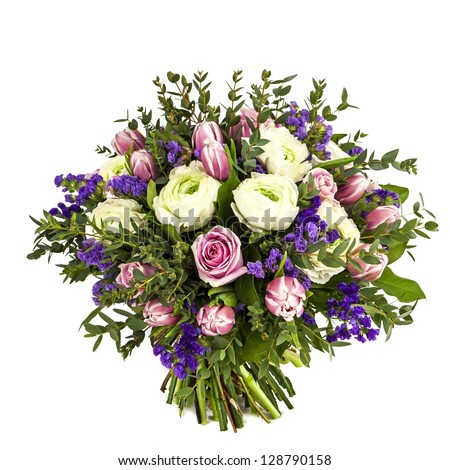 bouquet of pink, white and violet flowers isolated on white - stock photo