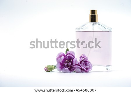 bouquet of purple white carnation flower and perfume bottle on isolated background text word on beautiful lovely pretty fresh carnation