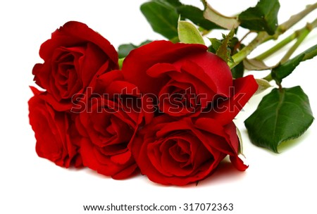 Bouquet of red rose flowers isolated on white background