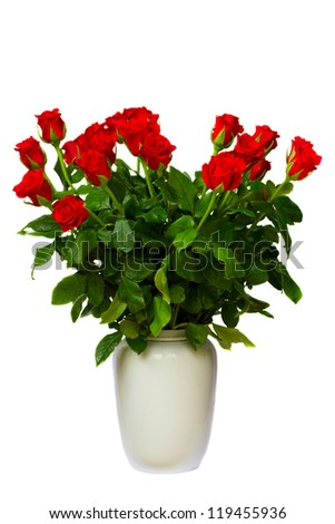 bouquet of red roses in vase  isolated on white background