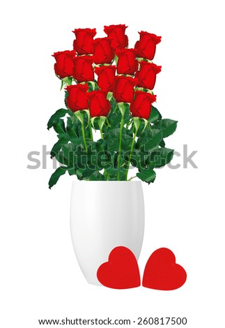 bouquet  of red roses in white vase and red hearts closeup isolated on white background
