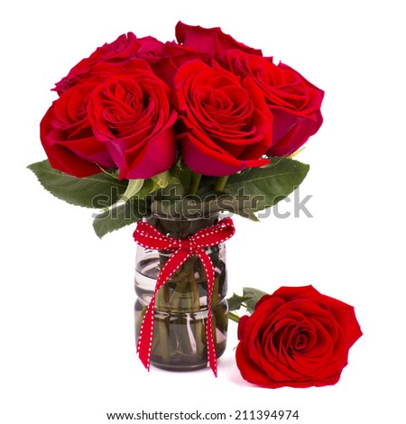 bouquet of red roses isolated on white background - stock photo